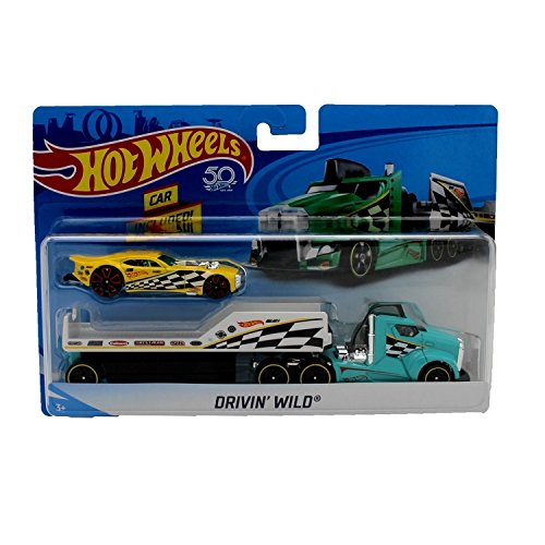Hot Wheels City Rig - Drivin' Wild Semi and Trailer with Nitro Coupe - White Truck, Red Car - 1:64 scale ()