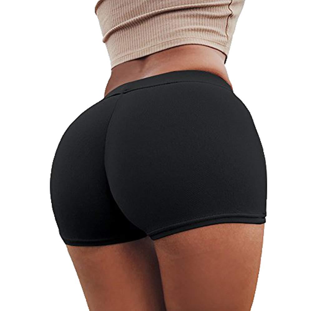 Yoga Short Pants for Women's,Women Pants Summer Sports Shorts Gym Workout Waistband Skinny Pants Yamally Black