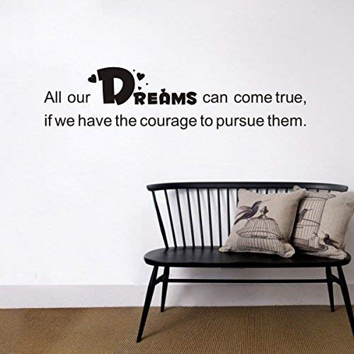 Larmai Wall Sticker Decorations Dream Quote Vinyl Decor -All Our Dreams Can Come True.- for Baby Girl Room and Baby Boy Room (11h x46w) Wall Decals for Girls Women Men Boys