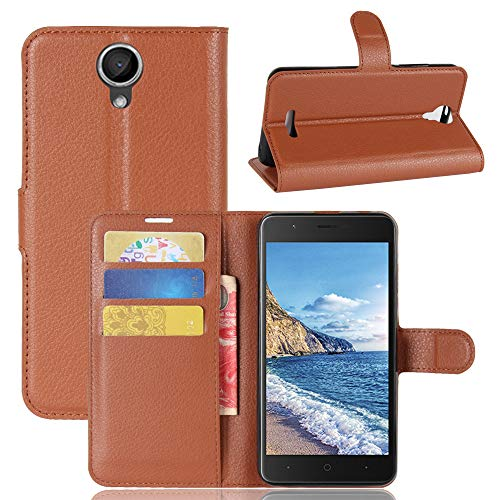 GARITANE Case for Wiko Harry,Shockproof Leather Flip Cover Notebook Wallet Case with Magnetic Closure Card Slot for Wiko Harry (Brown)