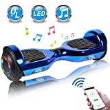 UNI-SUN 6.5' Chrome Hoverboard for Kids, Two Wheel Electric Scooter, Self Balancing Hoverboard with Bluetooth and LED Lights for...