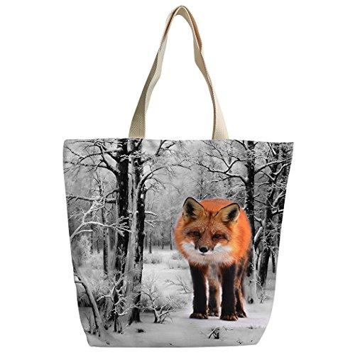 SXCHEN Giant Fox Snowy Forest Snow Wild Animal Custom Canvas Tote Bag Handbag