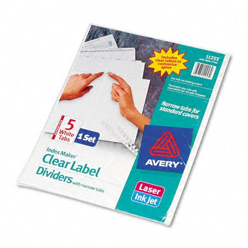 UPC 072782112530, Avery Index Maker Clear Label Dividers, 5 Narrow Tabs, 8.5 x 11 Inches, White, 5 per Set (11253)