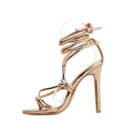 dc7a91cf888c1 Amazon.com: YXB Womens Ladies High Heel Ankle Tie Wrap Lace Up ...