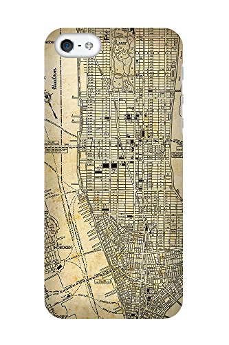iPhone 4/4S Coque photo - Rétro carte de New York Sépia