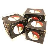 Set of three wooden chests trunks 'Jardin Des Plantes' black red.