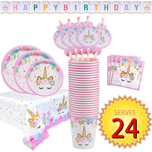 - FZR Legend Rainbow Unicorn Party Supplies Set - Serves 24 - Including Unicorn Happy Birthday Banner, Plates, Cups, Napkins, Straws and Tablecloths