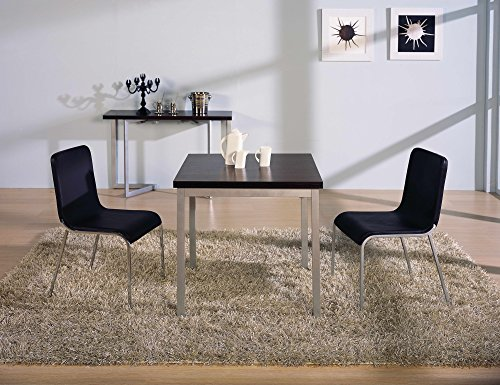 Corner Housewares Modern Rectangular 4-6 Person Easy Slide Transforming Dining Table with Gloss Finish, Dark Wood by SpaceMasterTM (Image #1)