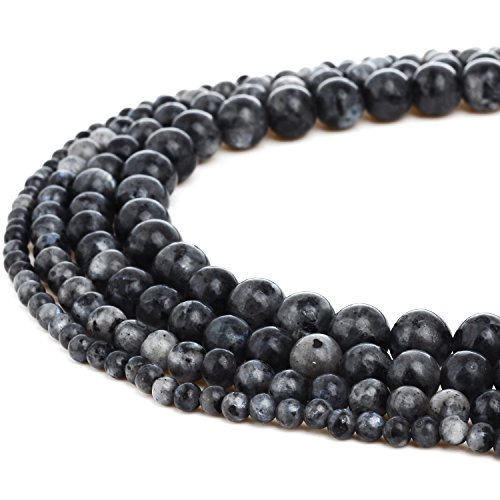 - RUBYCA Natural Black Labradorite Gemstone Round Loose Beads for DIY Jewelry Making 1 Strand - 4mm