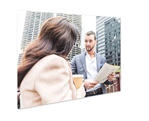 Ashley Giclee Metal Panel Print, Business People Meeting And Talking During Coffee Break In Chica, Wall Art Decor, Floating Frame, Ready to Hang 16x20, - Chico's Policy Return