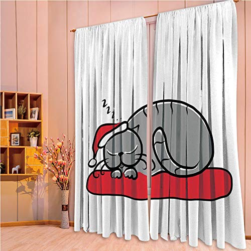 (ZHICASSIESOPHIER Bedroom/Living Room/Kids/Youth Room Curtain Panels, 2 Panel,Santa Hat Whiskers on Pillow Winter Night Cartoon 108Wx84L Inch)