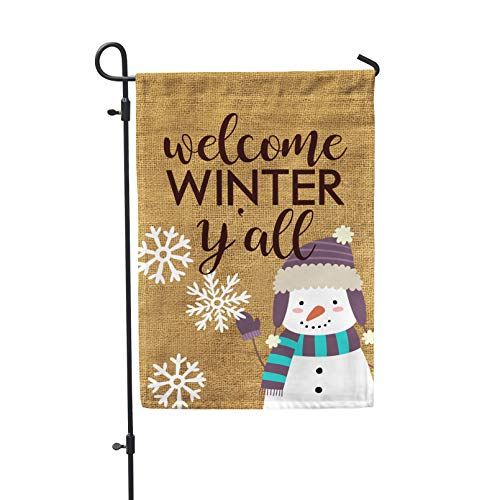 Second East Welcome Winter Y'all Burlap Garden Flag Outdoor Patio Seasonal Holiday by Second East