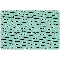 """Ambesonne Killer Whale Pet Mat for Food and Water, Swimming Fish Marine Ocean Wildlife Tropic Sea Illustration, Non-Slip Rubber Mat for Dogs and Cats, 18"""" X 12"""", Turquoise Charcoal Grey White"""