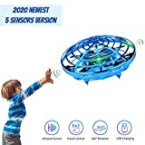 Hand Operated Mini Drone for Kids, Lumsburry Flying Ball Toy UFO Helicopter Infrared Induction Quadcopter with LED Light 360 Degree Rotation (Blue)