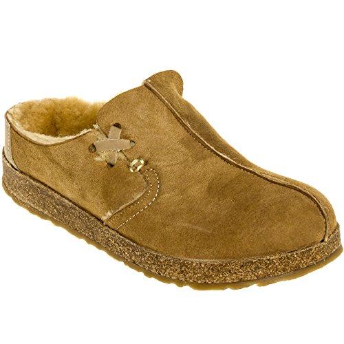 Haflinger Leather Shoes (Haflinger Women's SC Saskatchewan Shearling Clog, Tan, 39 EU/8 M)