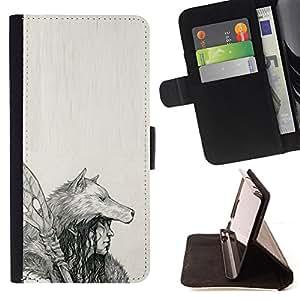 BullDog Case - FOR/Apple Iphone 5 / 5S / - / NATIVE INDIAN WOLF WOMAN SPEAR ART DRAWING /- Monedero de cuero de la PU Llevar cubierta de la caja con el ID Credit Card Slots Flip funda de cuer