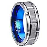 Nuncad Men's 8MM Tungsten Carbide Ring Grooved Blue & Silver Brushed Finish Comfort Fit Size 7