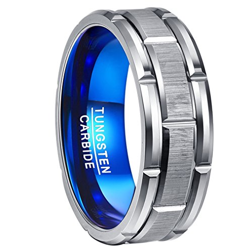 Nuncad Men's 8MM Tungsten Carbide Ring Grooved Blue & Silver Brushed Finish Comfort Fit Size 7 by Nuncad