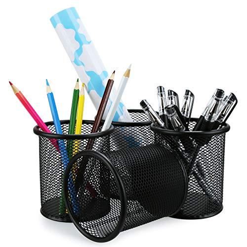 - Pen Holder Mesh Pencil Holder Metal Pencil Holders Pen Organizer Black for Desk Office Pencil Holders, 4 Pack