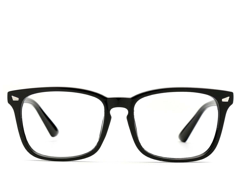 9f308ee5e6 TIJN Unisex Wayfarer Non-prescription Glasses Frame Clear Lens Eyeglasses  (Black