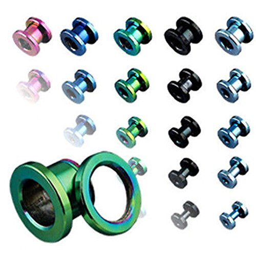 Inspiration Dezigns Titanium IP Over 316L Surgical Steel Screw Fit Flesh Tunnels - Sold as Pairs (2G Green)