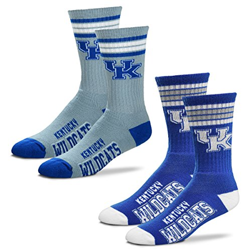 For Bare Feet Men's 4 Stripe Deuce Crew Socks-Kentucky Wildcats-Large-2 Pack