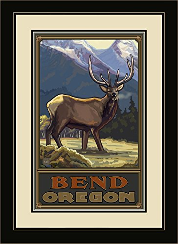 Northwest Art Mall PAL-1237 MFGDM COEM Bend Oregon Elk Framed Wall Art by Artist Paul A. Lanquist, 13 by - Mall Bend North