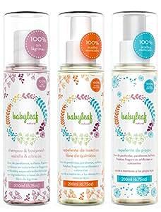 Set de Repelente de Mosquitos e Insectos Natural + Repelente de Piojos Natura + Shampoo & Body wash Vainilla y Citricos, libre de químicos - Babyleaf Natural - 200ml - ENVIO GRATIS