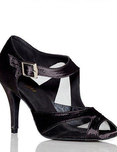 ShangYi Non Customizable Women's Dance Shoes Latin Satin Flared Heel Green / Purple Black xMqw4olp