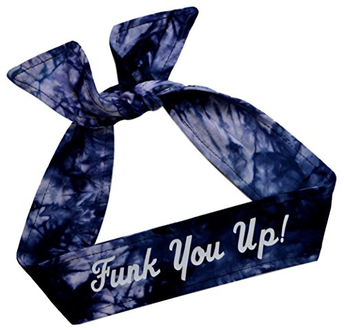 Funny Girl Designs Tie Back Sport Headband with Your Custom Team Name or Text in Vinyl (Navy TIE DYE, 1 ()