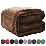 VEEYOO Flannel Fleece Throw Blanket Brown 50''x60'' - All Seasons Lightweight Extra Soft Plush Microfiber Blankets for Sofa Couch Bed