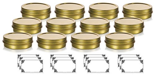 1 oz / 30 ml Gold Metal Steel Tin Flat Container with Tight Sealed Twist Screwtop Cover Lid (12 Pack) + Labels