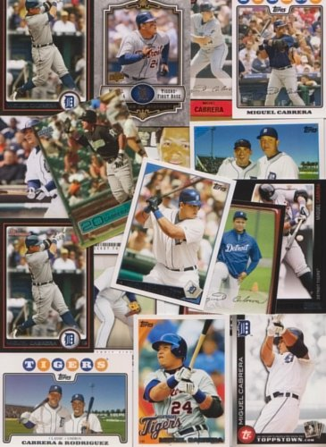 Miguel Cabrera / 25 Different Baseball Cards featuring Mi...