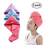 3 Pack Microfiber Hair Drying Towels with Button Shower Head Towel Wrap for Long Hair Ultra Absorbent Fast Drying Hair Cap Hat Twist Turban Towel for women