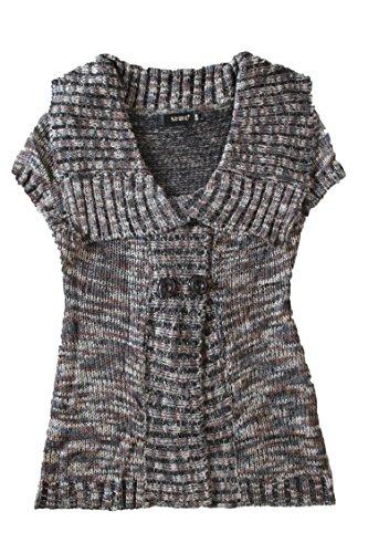 shiko-gilet sans manches doux style laine-marron et noir-femme
