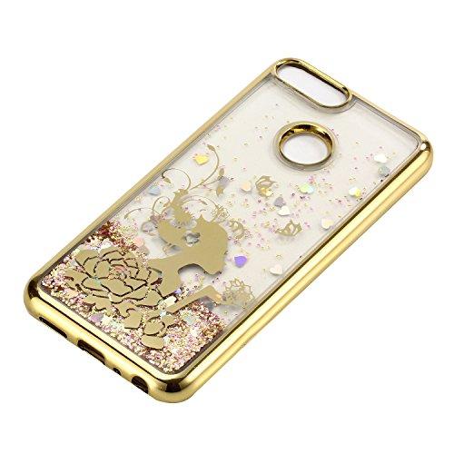 LuckyW Enchapado Caja de Bling for Huawei Enjoy 7S/Huawei Honor 9 Lite TPU Silicone Transparente Cubierta de la Contraportada del Color del SuaveSuave Ligero Ultra delgado Delgado [Resistente a los ar Princesa