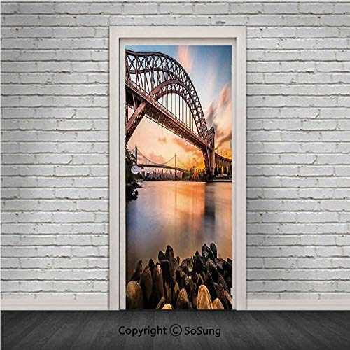 Landscape Door Wall Mural Wallpaper Stickers,Sunset Evening View Picture Hell Gate and Triboro Bridge Astoria Queens America,Vinyl Removable 3D Decals 30.4x78.7/2 Pieces set,for Home Decor Brown Blue