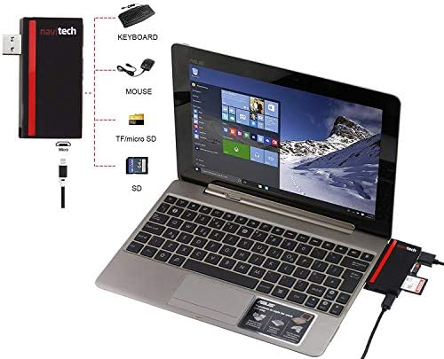 Navitech 2 in 1 Laptop//Tablet USB 3.0//2.0 HUB Adapter//Micro USB Input with SD//Micro SD Card Reader Compatible with The Asus ProArt StudioBook Pro 17