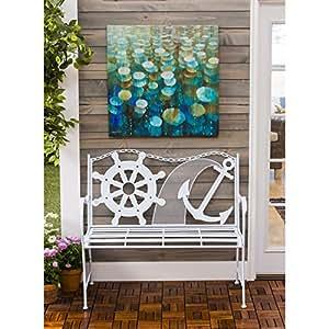 Cape Craftsmen Nautical Wheel and Anchor Outdoor Safe Iron Garden Bench