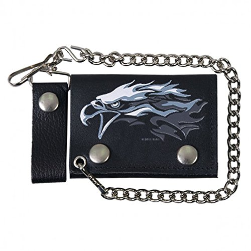 American Eagle Leather Belt (TRIBAL EAGLE, Detachable Chain & Leather Belt Loop Snap, Bikers Tri-Fold Leather)