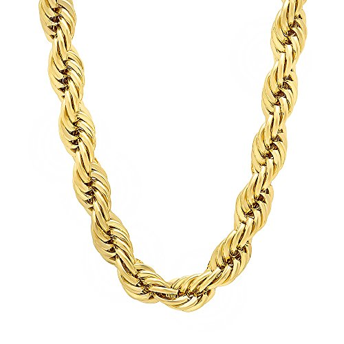 7mm 14k Gold Plated French Rope Chain Necklace, 36'' + Microfiber Jewelry Polishing Cloth by The Bling Factory