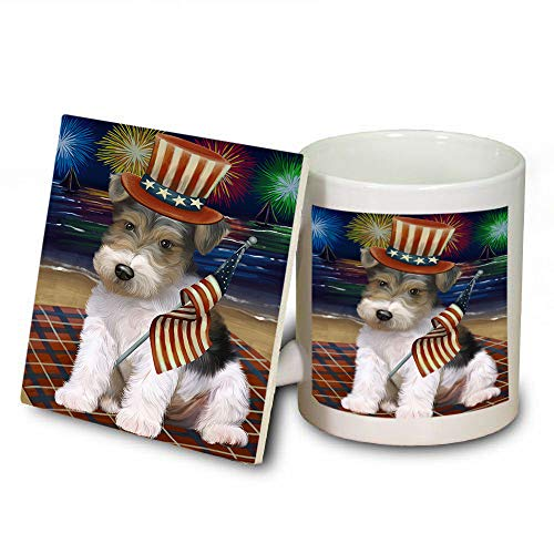 4th of July Independence Day Firework Wire Fox Terrier Dog Mug and Coaster Set MUC52465 (Safe Dishwasher Independence Coasters)
