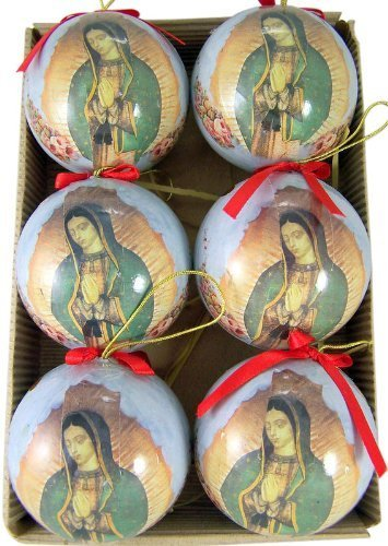 OL Our Lady of Guadalupe with Roses 3-inch Decoupage Christmas Ornament ()