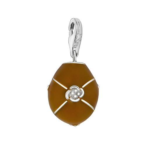 Quiges Charm Anh/änger Zirkonia Blume 925 Silber mit Karabinerverschluss f/ür Bettelarmband