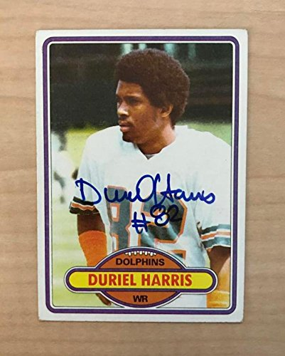 DURIEL HARRIS MIAMI DOLPHINS SIGNED AUTOGRAPHED 1980 TOPPS CARD #181 (1980 Topps Card Photo)