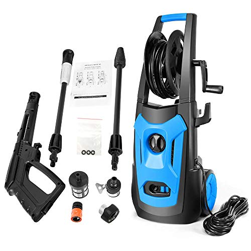 - SUNGOLDPOWER 2250PSI High Electric Pressure Washer, 1.85GPM Car Power Washer with Adjustable Spray Nozzle, Extra Turbo Nozzle Detergent Tank and Hose Reel Cleaner Machine