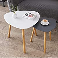 BAMEOS Bamboo Nesting Triangle End Table,Set of 2 Coffee Table Modern Minimalist Side Table for Living Room, Balcony in…