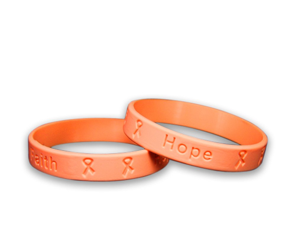 Fundraising For A Cause 25 Pack Child Peach Silicone Bracelets - Child Size (Wholesale Pack - 25 Bracelets)