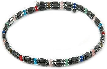 71e79b20e5a Avalaya Hematite Bead with Semiprecious Multicoloured Stones Magnetic  Necklace/Bracelet - 90cm Total Length