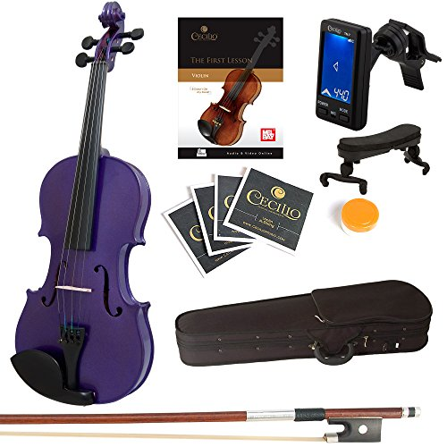 Mendini Size 1/4 MV-Purple Solid Wood Violin with Tuner, Lesson Book, Shoulder Rest, Extra Strings, Bow and Case, Metallic Purple